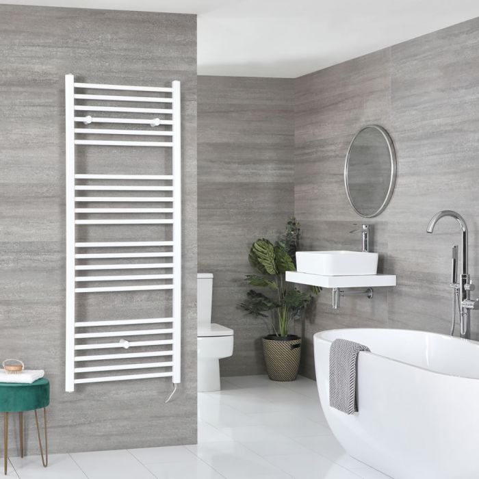 Milano Ive Electric - Flat White Heated Towel Rail 1600mm x 600mm