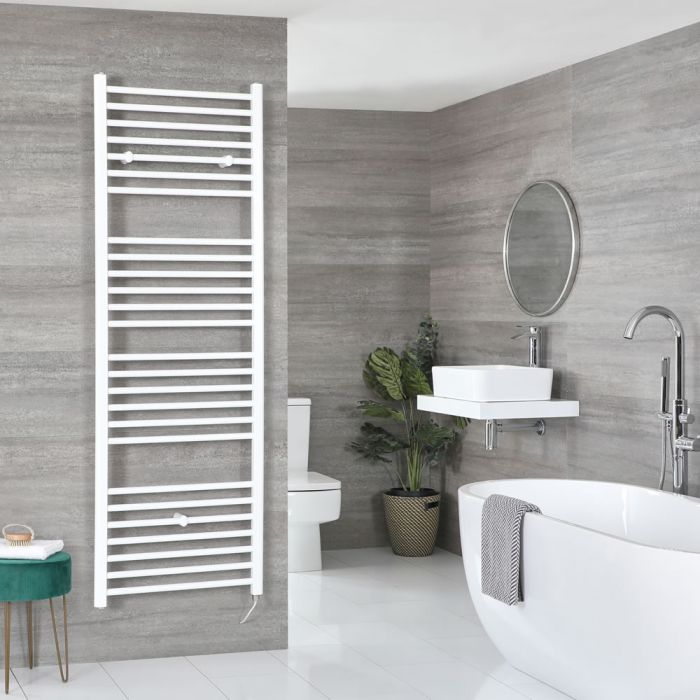 Milano Ive Electric - Flat White Heated Towel Rail 1800mm x 600mm