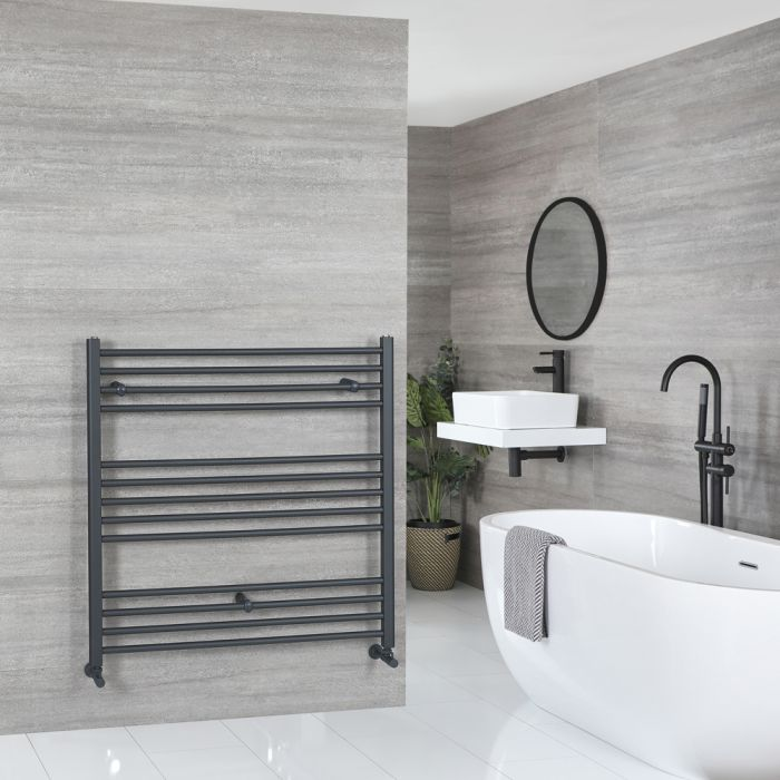 Milano Artle - Flat Anthracite Heated Towel Rail 1000mm x 1000mm