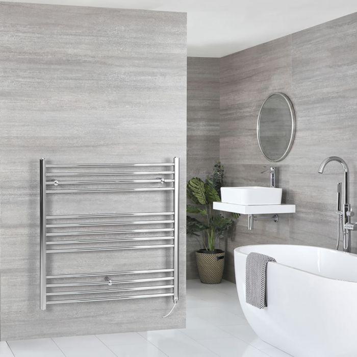 Milano Kent Electric - Flat Chrome Heated Towel Rail 1000mm x 1000mm
