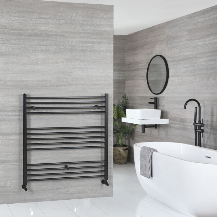 Milano Nero - Flat Matt Black Heated Towel Rail 1000mm x 1000mm