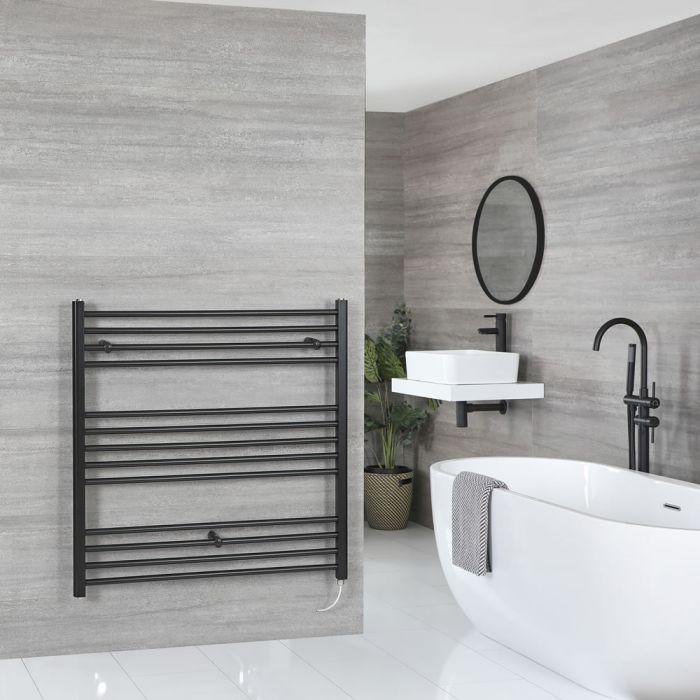 Milano Nero Electric - Flat Matt Black Heated Towel Rail 1000mm x 1000mm