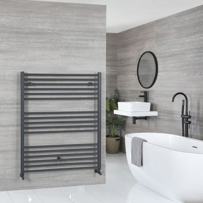 Milano Artle - Flat Anthracite Heated Towel Rail 1200mm x 1000mm