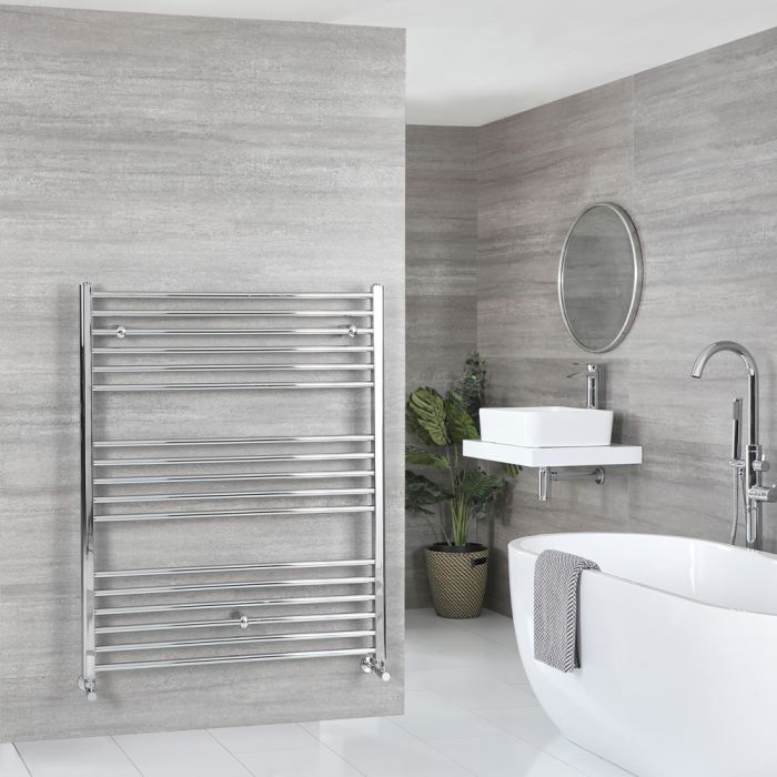 Milano Kent - Flat Chrome Heated Towel Rail 1200mm x 1000mm