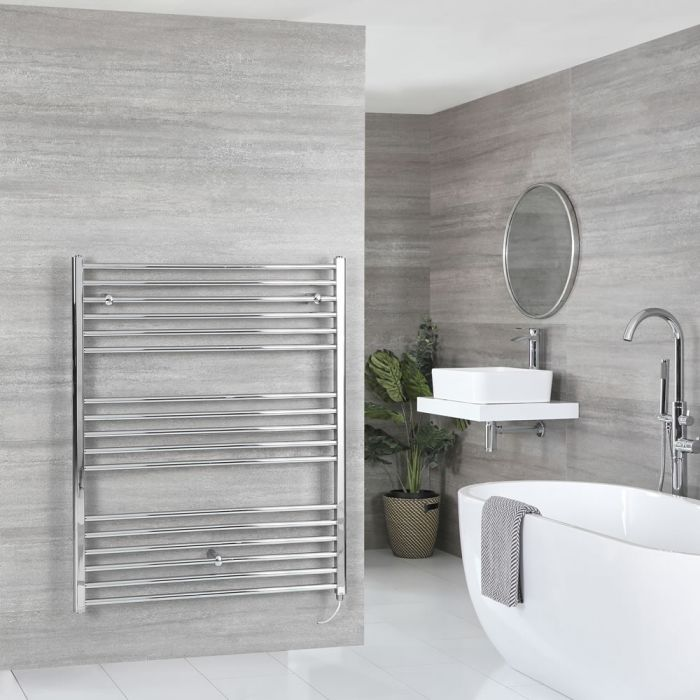 Milano Kent Electric - Flat Chrome Heated Towel Rail 1200mm x 1000mm