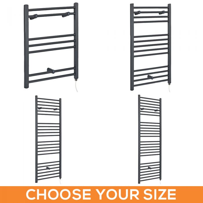 Milano Artle Electric - Flat Anthracite Heated Towel Rail - Various Sizes