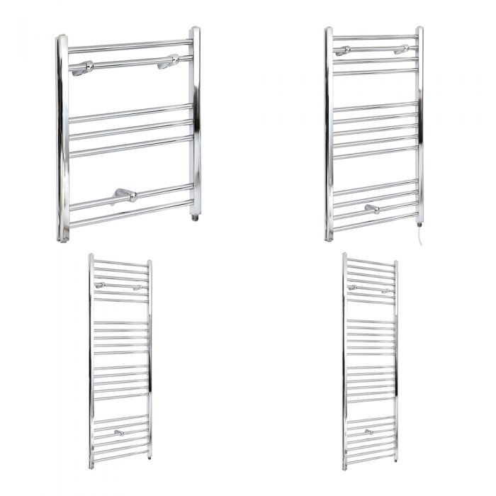 Milano Kent Electric - Flat Chrome Heated Towel Rail - Various Sizes and Choice of Element