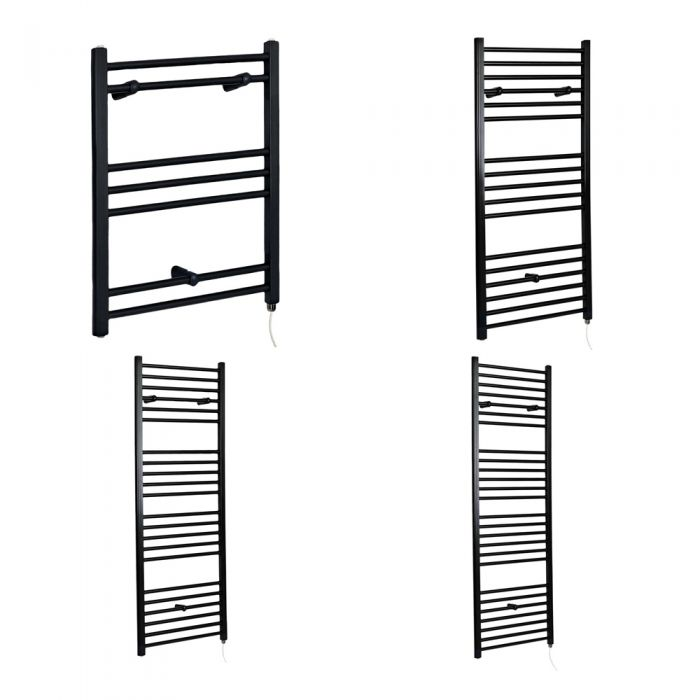 Milano Nero Electric - Flat Black Heated Towel Rail - Various Sizes and Choice of Element
