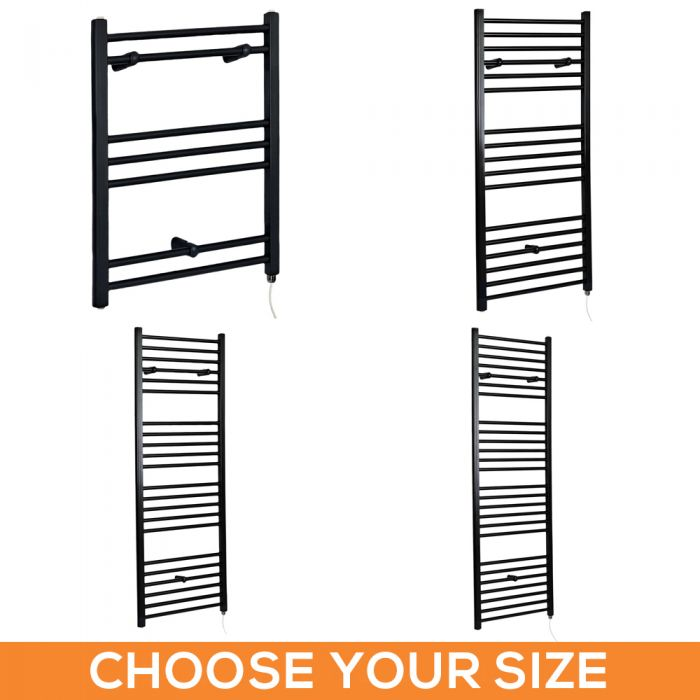 Milano Nero Electric - Flat Black Heated Towel Rail - Various Sizes