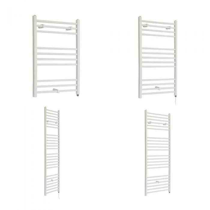 Milano Ive Electric - Flat White Heated Towel Rail - Various Sizes and Choice of Element