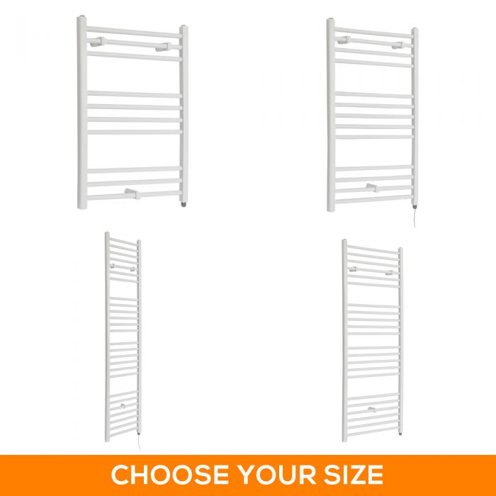 Milano Ive Electric - Flat White Heated Towel Rail - Various Sizes and Choice of Bluetooth Element
