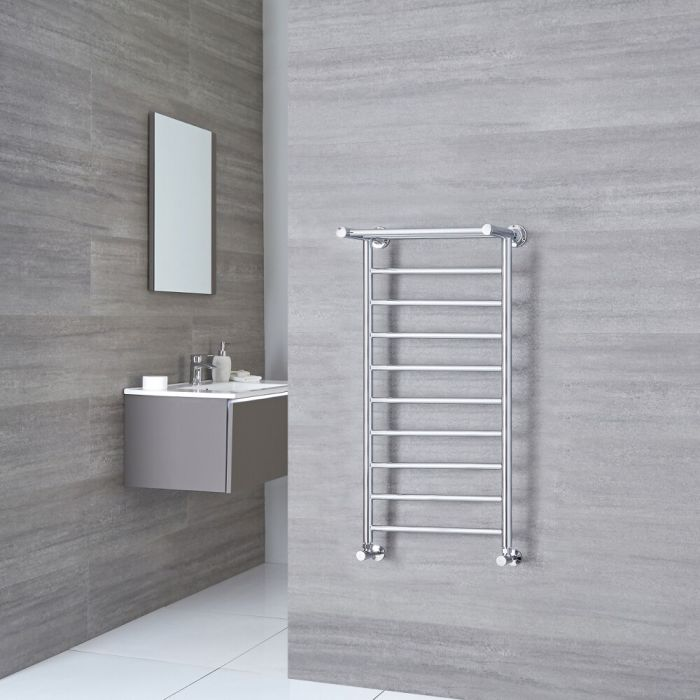 Milano Pendle - Chrome Heated Towel Rail with Heated Shelf 1000mm x 488mm