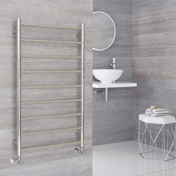 Milano Esk - Stainless Steel Flat Heated Towel Rail - 1000mm x 600mm