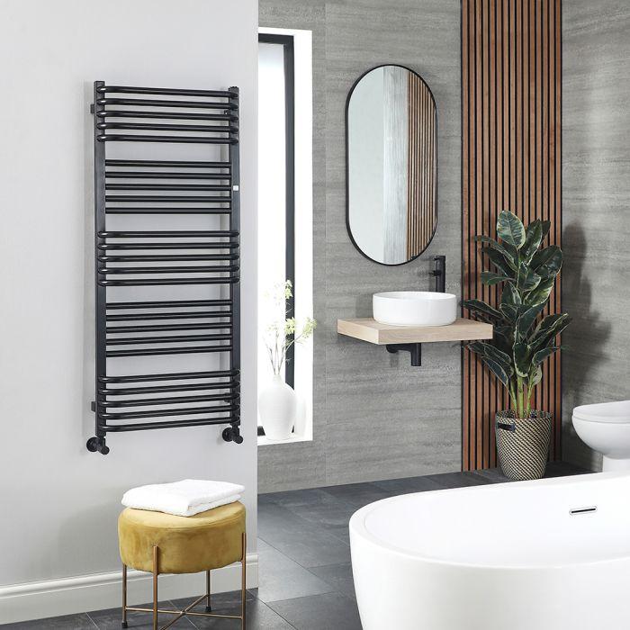 Terma Pola - Black D-Bar Heated Towel Rail 1180mm x 500mm