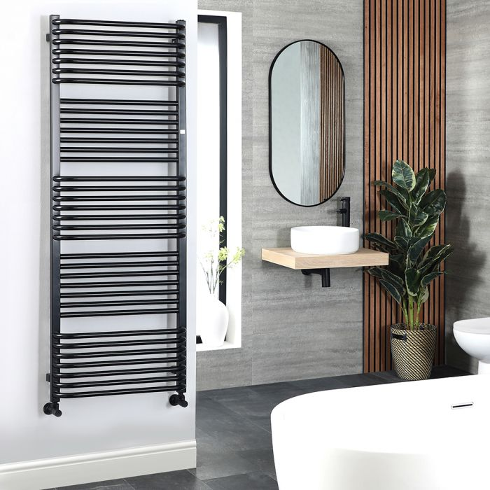 Terma Pola - Black D-Bar Heated Towel Rail 1180mm x 600mm