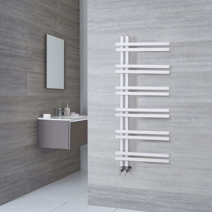 Milano Pars - White Aluminium Designer Heated Towel Rail 1200mm x 500mm