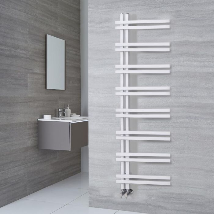 Milano Pars - White Aluminium Designer Heated Towel Rail 1600mm x 500mm