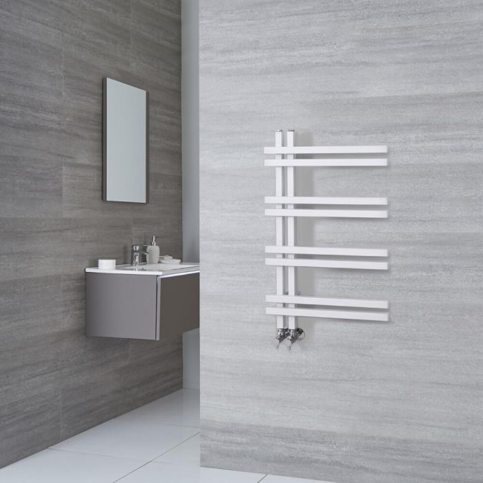 Milano Pars - White Aluminium Designer Heated Towel Rail 800mm x 500mm