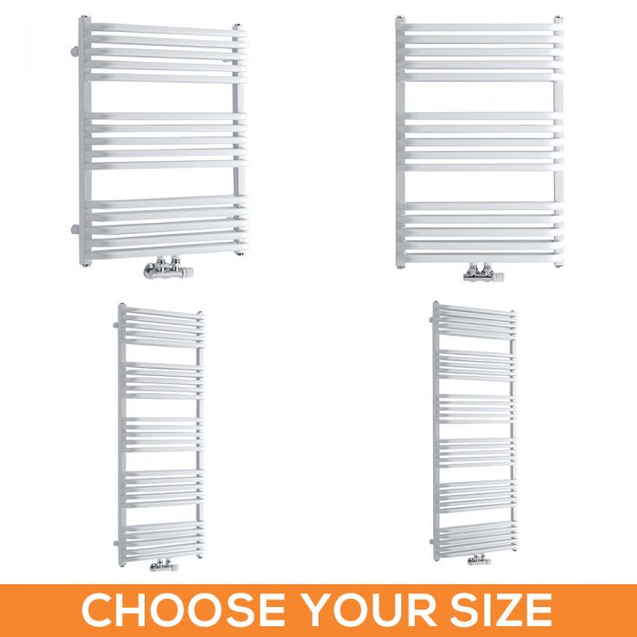 Milano Bow - White D Bar Heated Towel Rail - Various Sizes