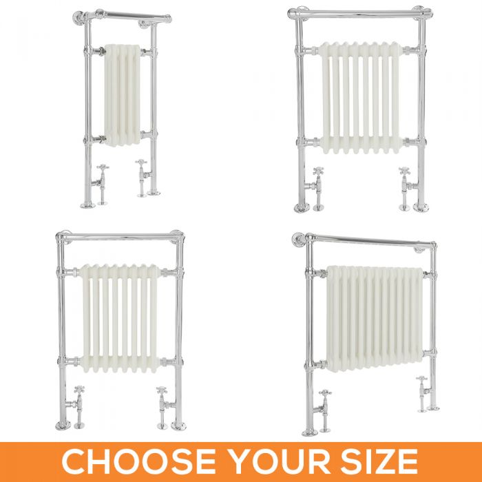 Milano Elizabeth - White Traditional Heated Towel Rail - Various Sizes