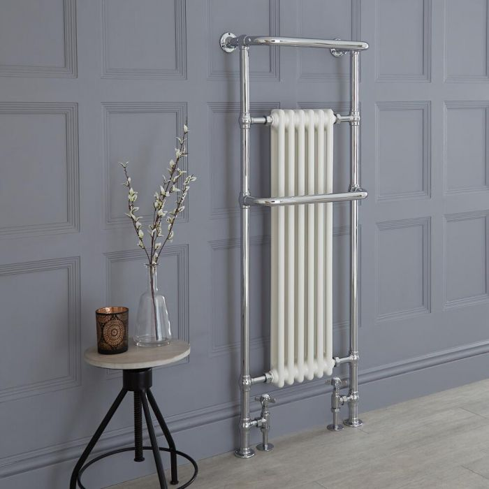 Milano Elizabeth - White Traditional Heated Towel Rail 1500mm x 575mm (With Overhanging Rail)
