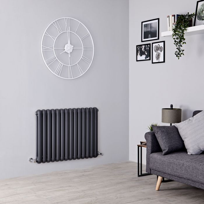 Milano Urban - Anthracite Horizontal Double Column Radiator 635mm x 863mm