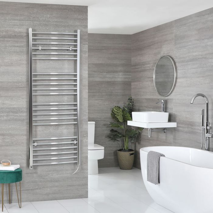 Milano Kent Electric - Curved Chrome Heated Towel Rail - Various Sizes