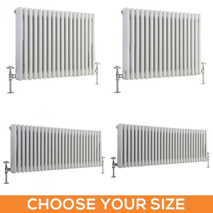 Stelrad Regal - Horizontal Triple Column White Traditional Cast Iron Style Radiator - Choice of Size
