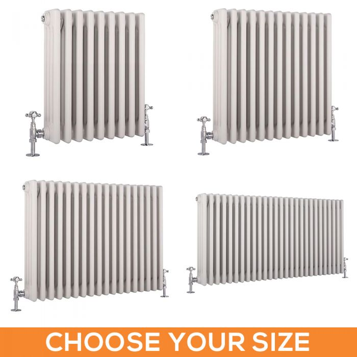 Stelrad Regal - Horizontal Four Column White Traditional Cast Iron Style Radiator - Choice of Size