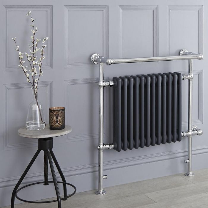 Milano Elizabeth - Anthracite Traditional Electric Heated Towel Rail - 930mm x 790mm (With Overhanging Rail)
