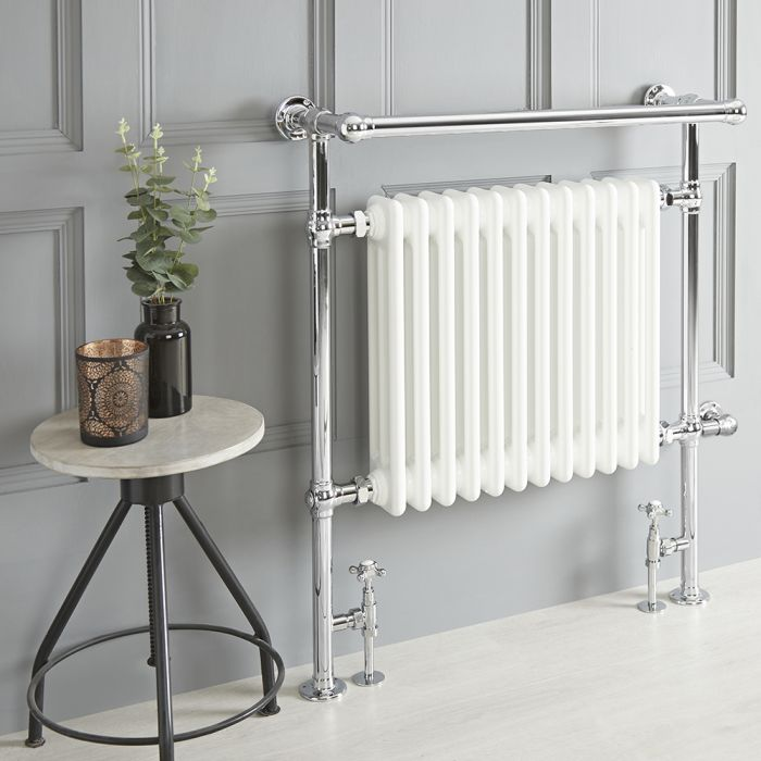 Milano Elizabeth - White Traditional Dual Fuel Heated Towel Rail - 930mm x 790mm (With Overhanging Rail) - Choice of Wi-Fi Thermostat and Cable Cover
