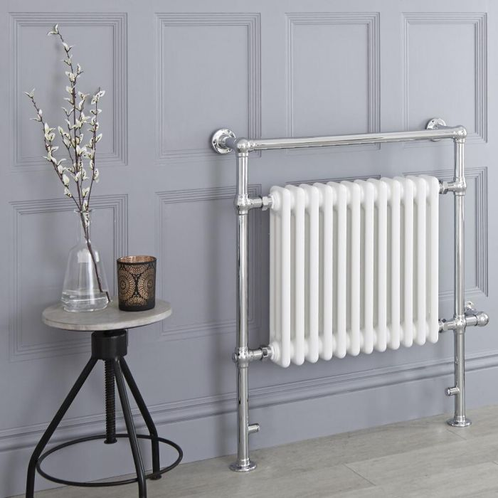 Milano Elizabeth - White Traditional Electric Heated Towel Rail - 930mm x 790mm