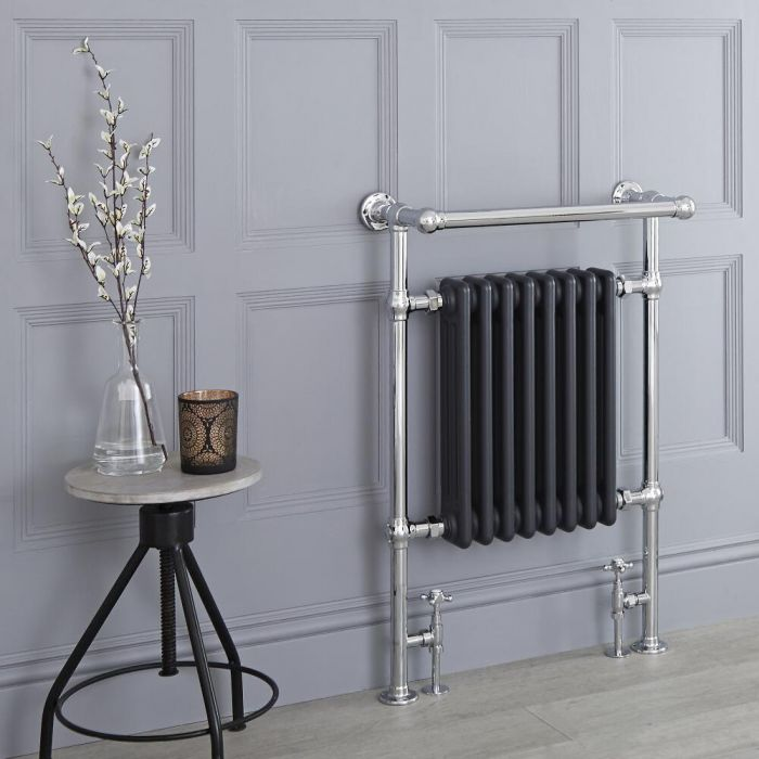 Milano Elizabeth - Anthracite Traditional Heated Towel Rail - 930mm x 620mm (With Overhanging Rail)