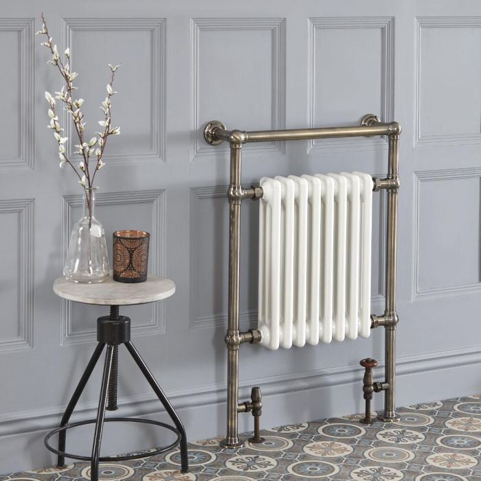 Milano Elizabeth - Brushed Brass Traditional Heated Towel Rail - 930mm x 620mm