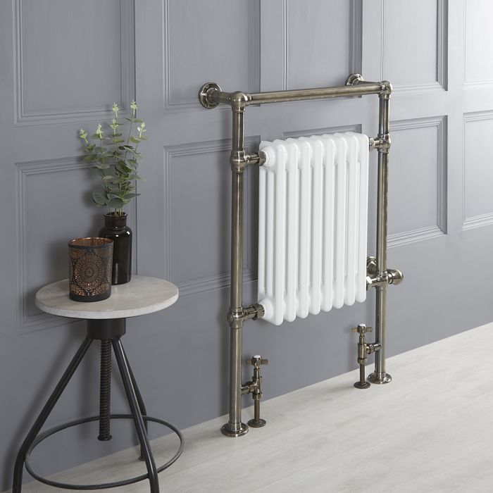 Milano Elizabeth - Brushed Brass Traditional Dual Fuel Heated Towel Rail - 930mm x 620mm - Choice of Wi-Fi Thermostat and Cable Cover