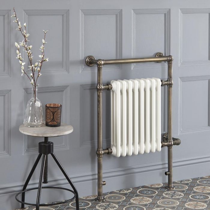 Milano Elizabeth - Brushed Brass Traditional Electric Heated Towel Rail - 930mm x 620mm