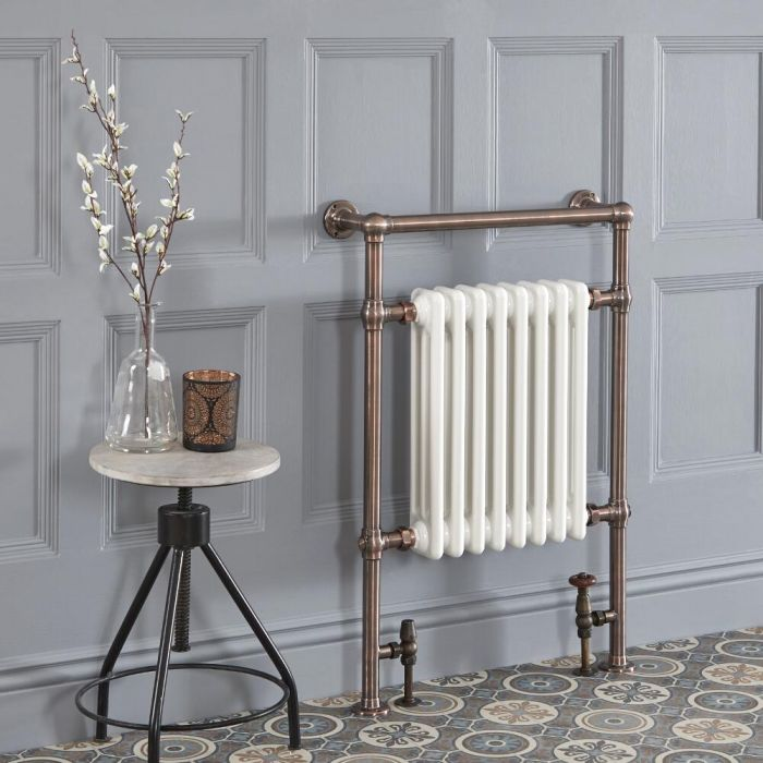 Milano Elizabeth - Oil Rubbed Bronze Traditional Heated Towel Rail - 930mm x 620mm