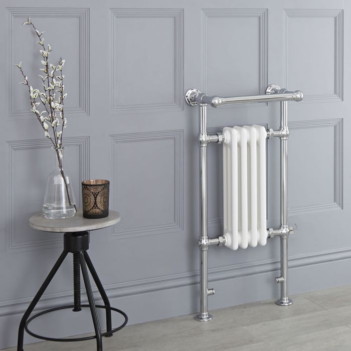 Milano Elizabeth - White Traditional Electric Heated Towel Rail - 930mm x 450mm (With Overhanging Rail)