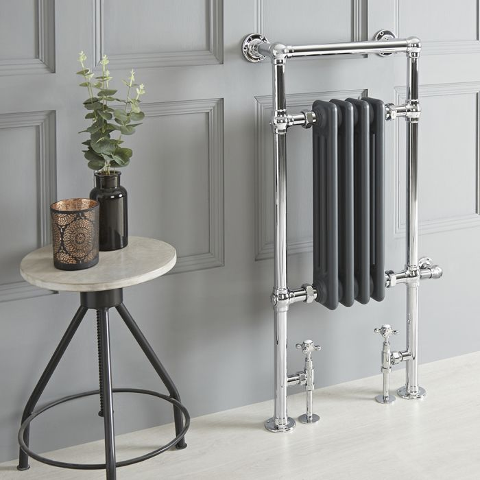 Milano Elizabeth - Anthracite Traditional Dual Fuel Heated Towel Rail - 930mm x 450mm - Choice of Wi-Fi Thermostat and Cable Cover