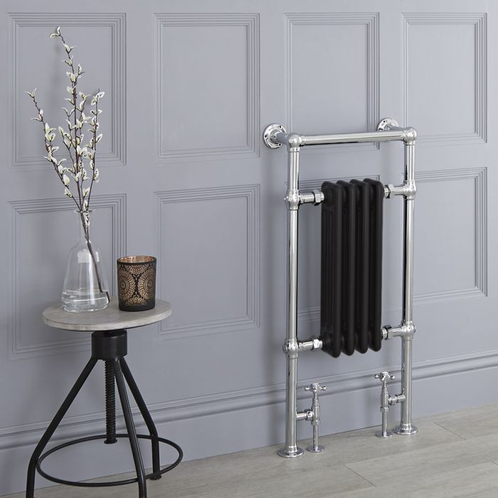 Milano Elizabeth - Black Traditional Heated Towel Rail - 930mm x 450mm