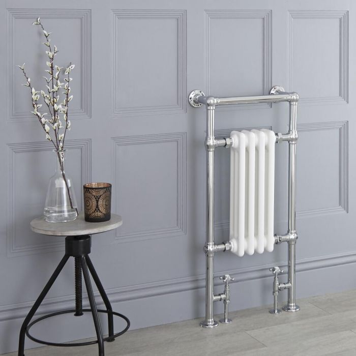 Milano Elizabeth - White Traditional Heated Towel Rail - 930mm x 450mm