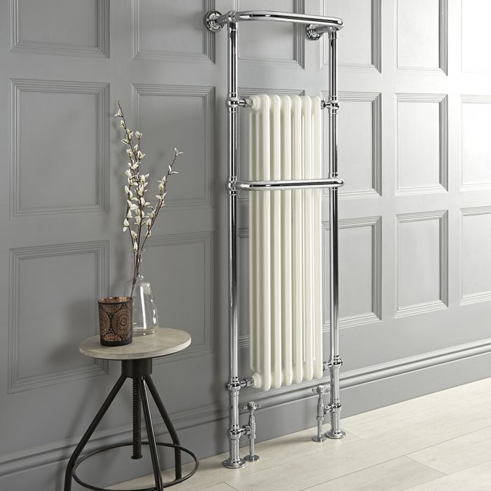 Milano Elizabeth - White Traditional Heated Towel Rail - 1510mm x 510mm (With Overhanging Rail)