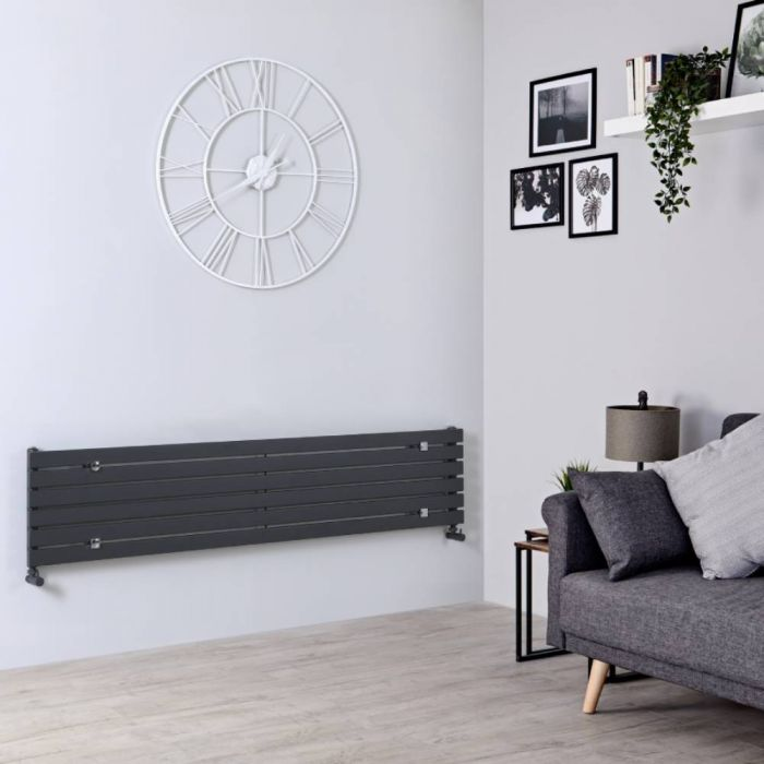 Milano Capri - Anthracite Horizontal Flat Panel Designer Radiator 354mm x 1780mm