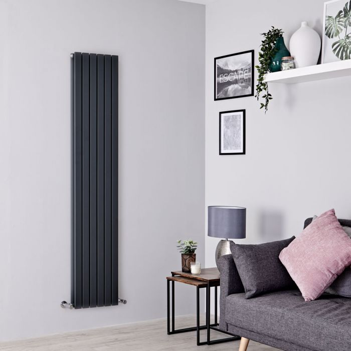 Milano Capri - Anthracite Vertical Flat Panel Double Designer Radiator 1780mm x 354mm