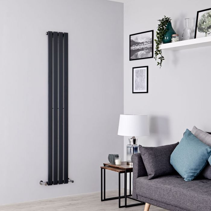Milano Alpha - Anthracite Vertical Single Slim Panel Designer Radiator 1780mm x 280mm