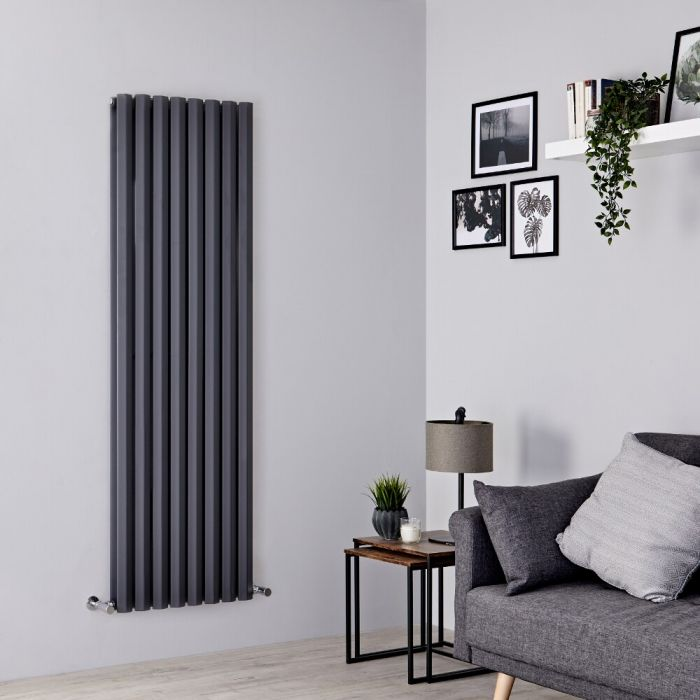 Milano Viti - Anthracite Vertical Diamond Double Panel Designer Radiator 1780mm x 560mm