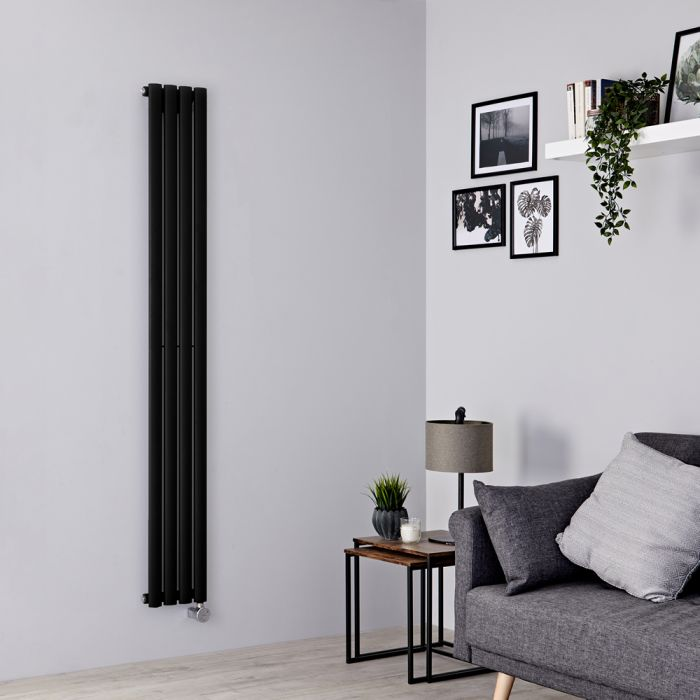 Milano Aruba Slim Electric - Black Space-Saving Vertical Designer Radiator 1780mm x 236mm