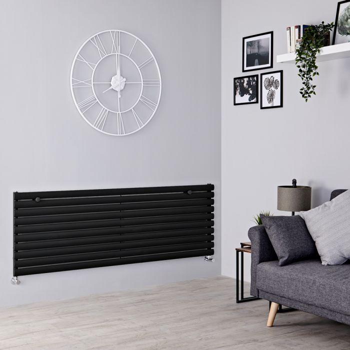 Milano Aruba - Black Horizontal Designer Radiator 590mm x 1780mm