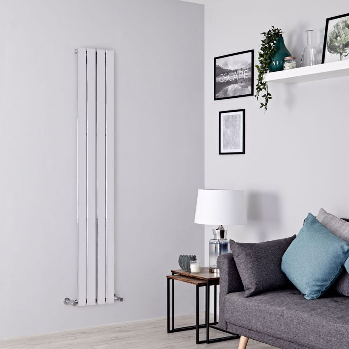 Milano Alpha - Chrome Vertical Slim Panel Designer Radiator 1800mm x 300mm