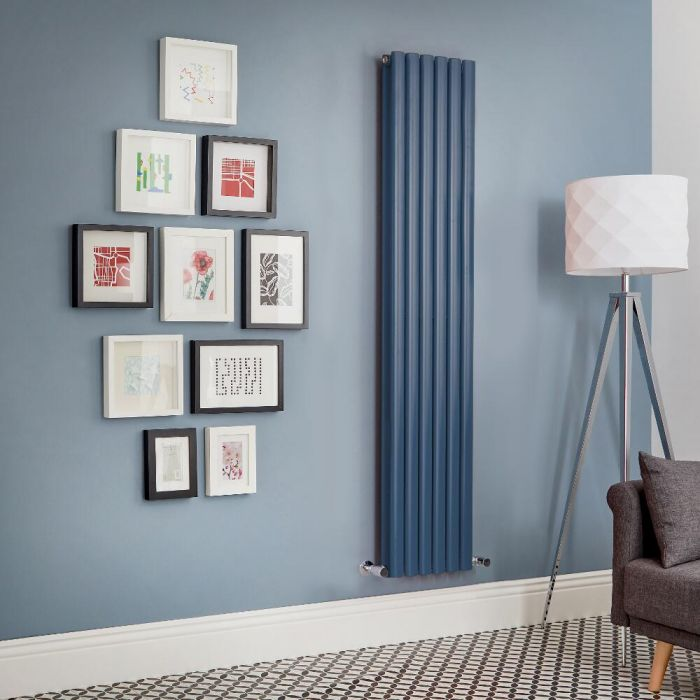Milano Aruba - Dark Blue Vertical Double Panel Designer Radiator - Various Sizes